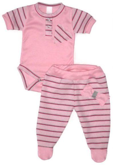 Babaruha, rózsaszín alapon, rózsaszín csíkos rövid ujjú body, hozzá illő csíkos talpas nadrággal, termékkép.