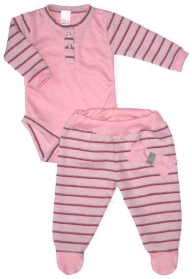 lány babaruha, rózsaszín hosszú csíkos ujjú body, hozzá illő csíkos talpas nadrággal, termékkép.