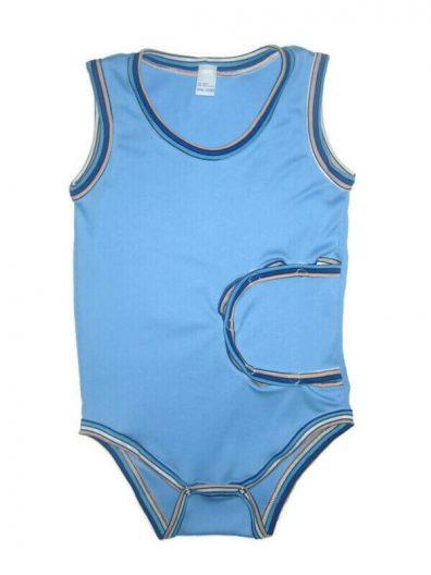 peg body ujjatlan kék, kék színű, csíkos szegőkkel, ujjatlan, termékkép.