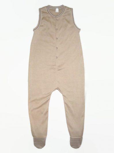 Fiú pamut rugdalózó, drapp színű, drapp csíkos szegőkkel, termékkép.