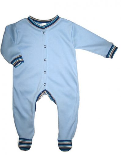 Hosszú ujjú fiú pamut rugdalózó, világoskék színű, hosszú ujjú, csíkos szegőkkel, talppal, termékkép.