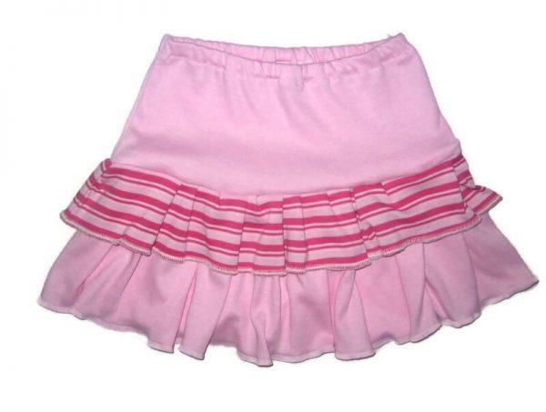 Lányka pamut szoknya, rózsaszín, rózsaszín csíkossal variálva, termékkép.