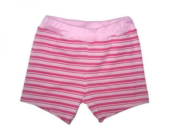Pamut lányos rövid nadrág, pink-rózsaszín csíkos, rózsaszín derékkal, termékkép.