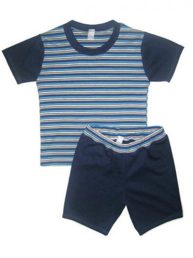 Pamut szett fiú, kék csíkos rövid ujjú póló, hozzá illő sötétkék rövid nadrággal, termékkép.