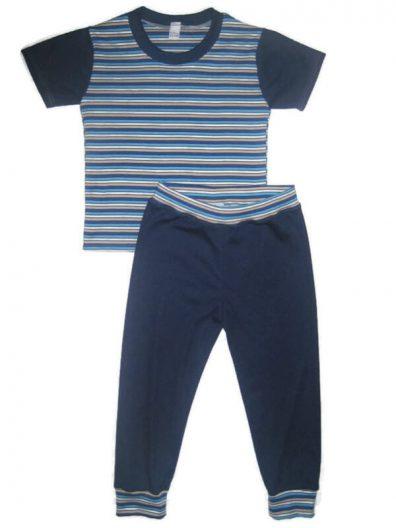 Pamut szett fiúknak, kék csíkos rövid ujjú póló, sötétkék hosszú nadrággal, termékkép.