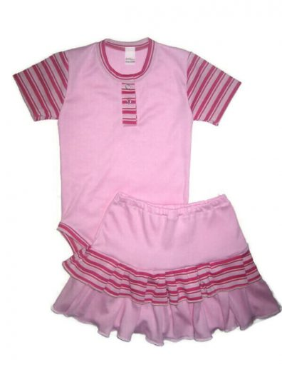 fodros szoknyás lány szett, rózsaszín body, csíkos rövid ujjal, színben hozzá illő fodros szoknyával, termékkép.