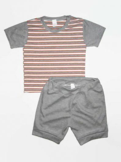 nyári pamut szett fiú, narancssárga-szürke csíkos póló szürke rövid ujjal, hozzá illő szürke rövid nadrággal, termékkép.