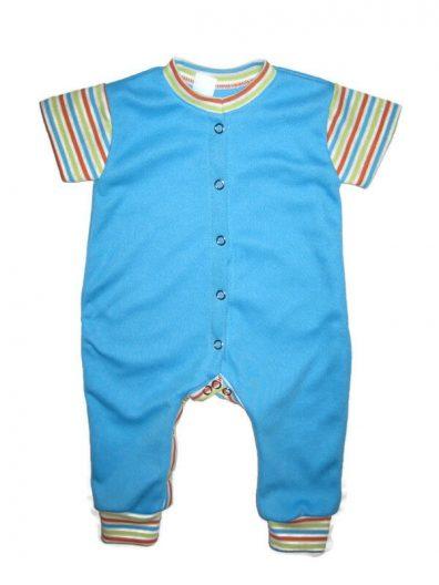 rövid ujjú kezeslábas pizsama, türkizkék színű, csíkos rövid ujjal, termékkép.