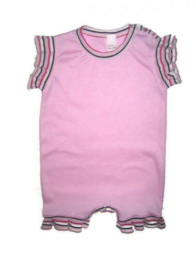 Pamut kislány napozó, rózsaszín, rózsaszín csíkos fodrokkal ellátott baba napozó, termékkép.
