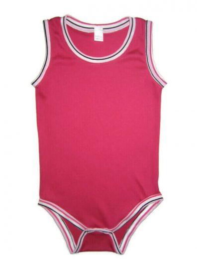 pamut body lányoknak, pink, pink csíkos szegőkkel, ujjatlan fazonú kombidressz, termékkép.