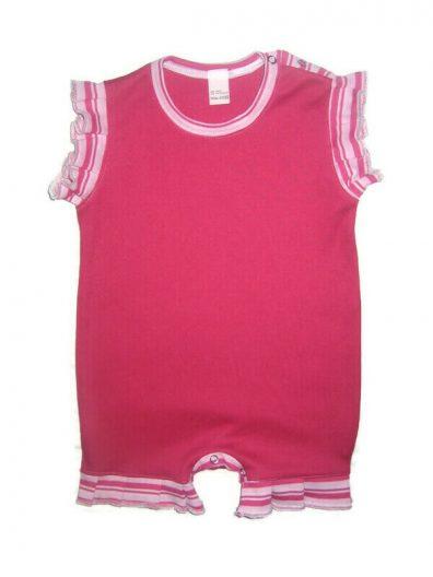 pamut lány napozó, pink színű, pink-rózsaszín fodros az ujján és a combján, termékkép.