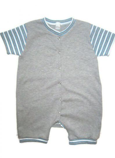 pamut napozó fiú, szürke, elöl végig patentos, csíkos rövid ujjal, baba napozó, termékkép.