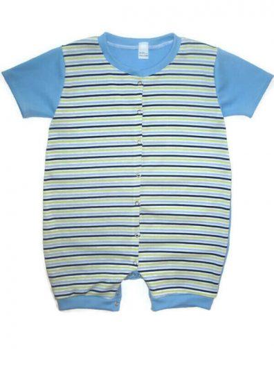 pamut napozó kisfiú, kiwi-fehér-sötétkék csíkos, elöl végig patentos baba napozó, rövid ujjal, termékkép.