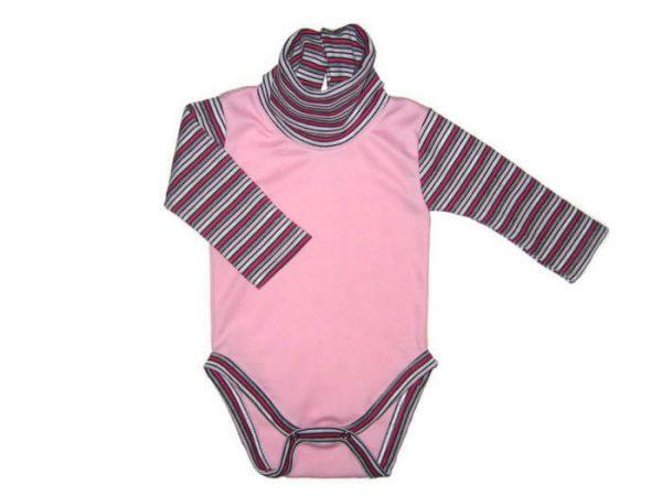 Baba body lányoknak, rózsaszín színű, rózsaszín csíkos hosszú ujjal és garbóval, termékkép.