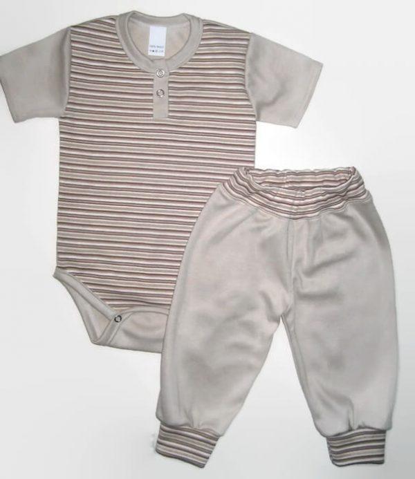 Baba body szett kisfiú, drapp csíkos, drapp színnel kombinálva, rövid ujjú body és hozzá illő drapp nadrág, termékkép.