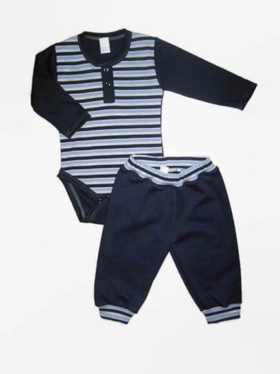 Baba body szett kisfiúnak, sötétkék csíkos, sötétkékkel kombinálva, hosszú ujjú body és hozzá illő sötétkék nadrág, termékkép.