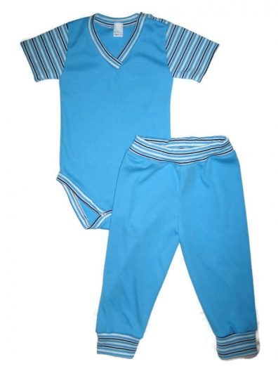 Baba body szett kisfiús, türkizkék színű, kék csíkossal variálva, rövid ujjú body és színben illő hosszú nadrág, termékkép.