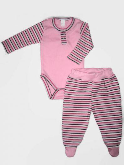 Baba body szett kislányoknak, rózsaszín színú, pink-szürke csíkossal kombinálva, hosszú ujjú body és hozzá illő talpas nadrág, termékkép.