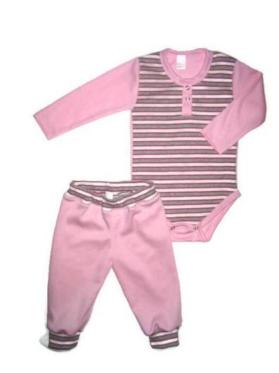 Baba body szett kislányos, rózsaszín-szürke csíkos, rózsaszínnel kombinálva, hosszú ujjú body, hozzá illő rózsaszín hosszú nadrág, termékkép.