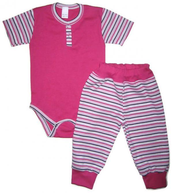 Baba body szett lány, pink szín, pink-fehér-fekete csíkossal kombinálva, rövid ujjú body és hozzá illő csíkos hosszú nadrág, termékkép.
