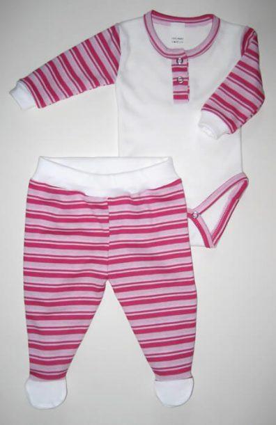 Baba body szett lányoknak, fehér szín, rózsaszín-pink csíkossal kombinálva, hosszú ujjú body és csíkos talpas nadrág, termékkép.