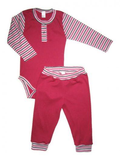 Baba body szettek kislányoknak, pink szín, pink-fehér-fekete csíkossal kombinálva, hosszú ujjú body és hozzá illő pink hosszú nadrág, termékkép.