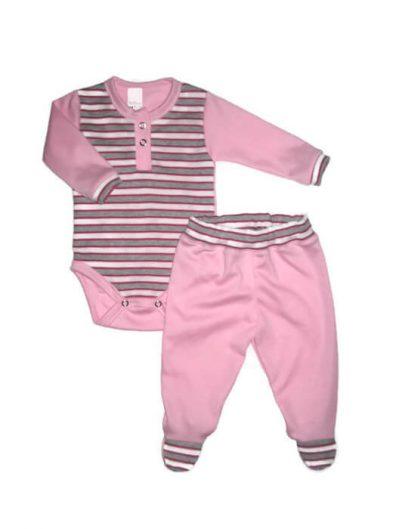 Baba body szettek lány, szürke-rózsaszín csíkos, rózsaszínnel kombinálva, hosszú ujjú body és színben illő rózsaszín talpas nadrág, termékkép.