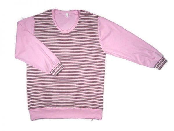 Baba pulcsi pamutból, rózsaszín-szürke csíkos, rózsaszínnel variálva, passzés, kerek nyakú lányos pulcsi, termékkép.