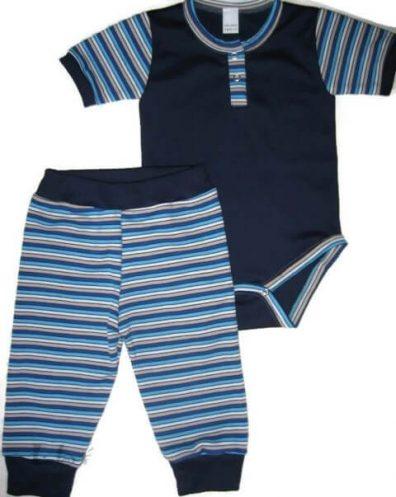 Babaruha szett kisfiúknak, sötétkék, sötétkék csíkossal kombinálva, rövid ujjú body és színben hozzá illő csíkos nadrág, termékkép.