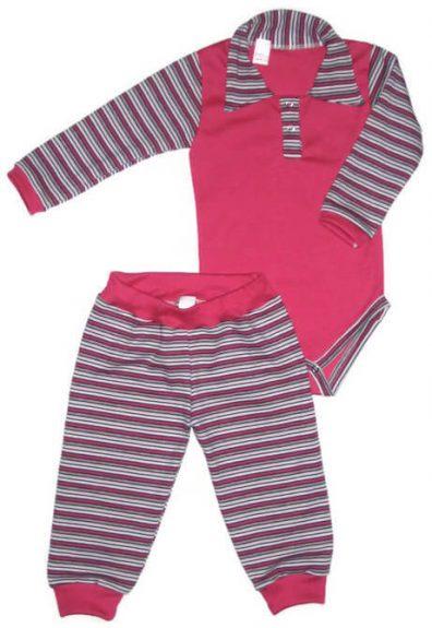 Body szett lányos, pink szín, pink-szürke-fehér csíkos hosszú ujjal és gallérral és hozzá illő csíkos hosszú nadrággal, termékkép.