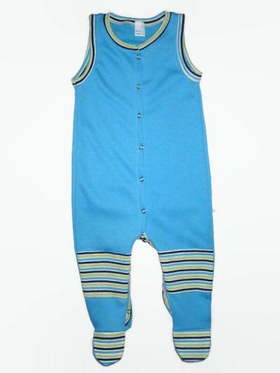 Fiú baba rugdalózó, türkizkék színű, ujjatlan, elöl végig patentos, térdfoltos, talpas rugi, termékkép.