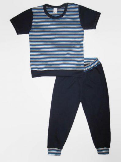 Fiú szett gyerekeknek, sötétkék csíkos, sötétkékkel kombinálva rövid ujjú póló és hozzá illő sötétkék hosszú nadrág, termékkép.