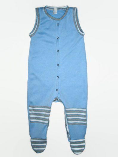 Fiús baba rugdalózó, kék színű, kék csíkos térdfolttal, talpas, ujjatlan, elöl végig patentos fazonú, termékkép.