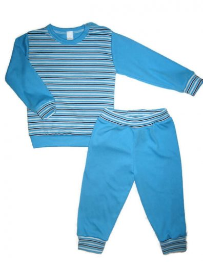 Gyerek fiú pizsama, türkizkék csíkos felső, türkizkék ujjal és színben hozzá illő passzés nadrággal, termékkép.