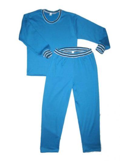 Gyerek pizsama pamut, türkiszkék színű, egyenes fazonú felső, egyenes nadrággal, termékkép.