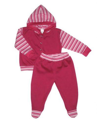 Gyerek ruha szett lányoknak, pink, pink csíkossal kombinálva, kapucnis kocsikabát és színben illő pink talpas nadrág, termékkép.