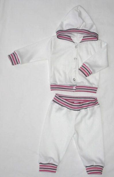 Gyerek ruha szett lányos, fehér szín, pink-fehér-fekete csíkos passzékkal, kapucnis kocsikabát és hozzá illő fehér nadrág, termékkép.