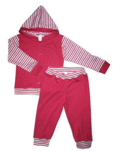 Gyerek ruha szett lányos, pink, pink-fekete-fehér csíkossal kombinálva, kapucnis kocsikabát és hozzá illő pink nadrág, termékkép.