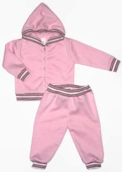 Gyerek ruha szett leány, rózsaszín, szürke-rózsaszín csíkos passzékkal, kapucnis kocsikabát és hozzá illő rózsaszín hosszú nadrág, termékkép.