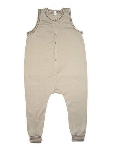 Kezeslábas pamut pizsama, drapp színű, elöl végig patentos, ujjatlan fazon, termékkép.