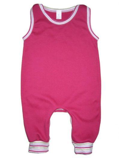Kezeslábas pamut pizsama lány, pink színű, rózsaszín csíkos passzékkal, ujjatlan fazon, termékkép.