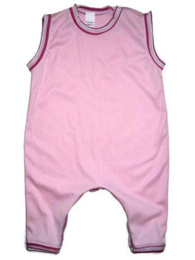 Kezeslábas pamut pizsama lányoknak, babarózsaszín színű, pink csíkossal variálva, ujjatlan fazon, termékkép.