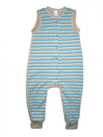 Kezeslábas pamut pizsi, kék csíkos, drapp színnel kombinálva, ujjatlan, elöl végig patentos fazon, fiúknak, termékkép.