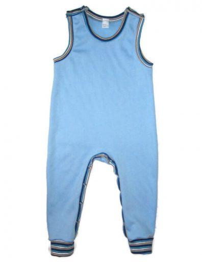 Kezeslábas pizsama pamutból, világoskék, kék csíkos passzékkal, ujjatlan, passzés aljú fazon, termékkép.
