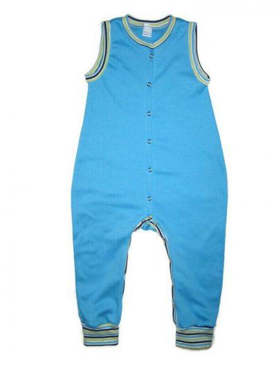 Kezeslábas pizsama télre, türkiszkék színű, csíkos passzékkal, ujjatlan, elöl végig patentos fazonú, termékkép.
