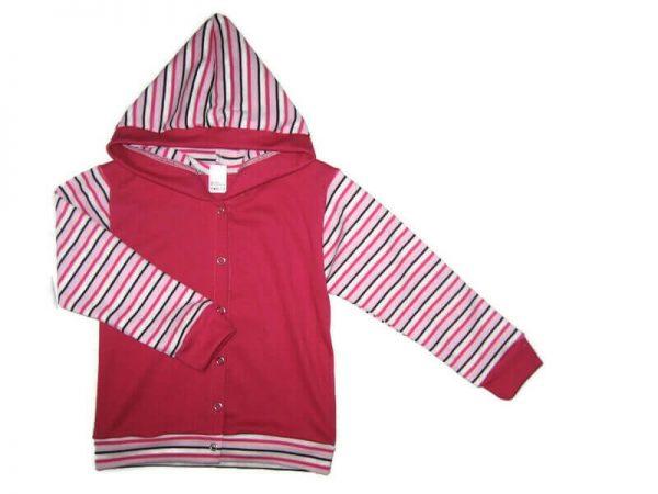 Kislány baba kardigán pamutból, pink színű, rózsaszín csíkos ujjal és kapucnival, termékkép.