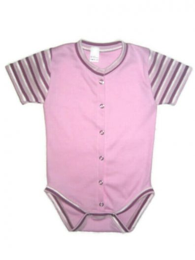 Pamut patentos baba body, rózsaszín, rózsaszín csíkos rövid ujjal, elöl végig patentos, termékkép.