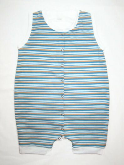 Pamut száras body, kék-narancssárga csíkos, fehérrel variálva, elöl végig patentos ujjatlan száras body, termékkép.