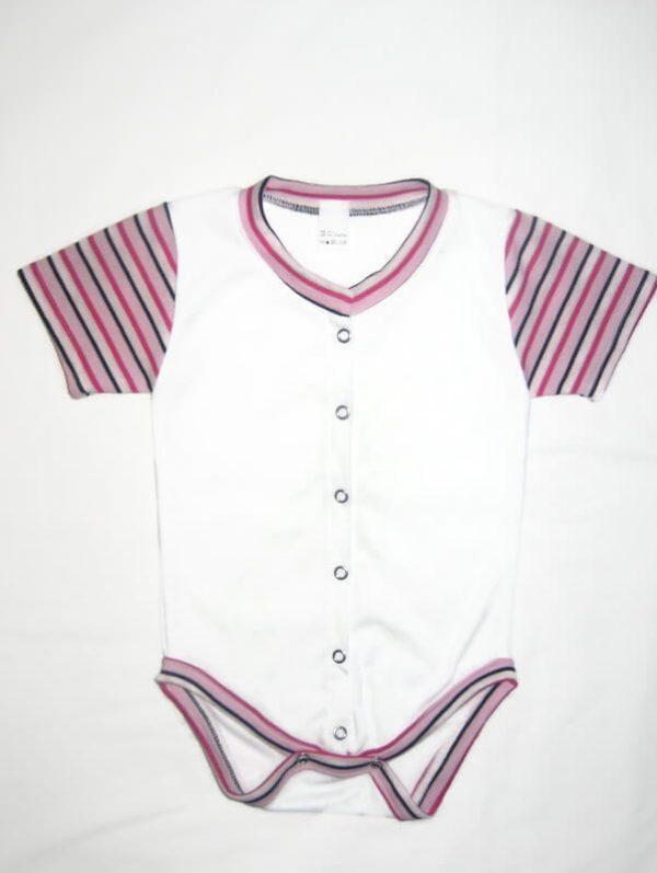 Patentos baba body pamutból, fehér, pink csíkos rövid ujjal, elöl végig patentos, termékkép.