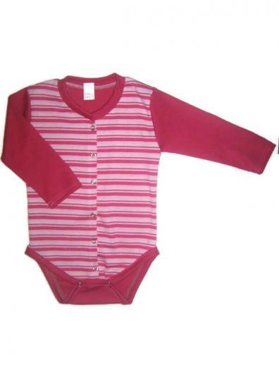 Patentos baba body pamutból, pink-fehér csíkos, pink hosszú ujjal, elöl végig patentos body, termékkép.